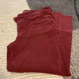 AE burgundy sateen pants sz 16